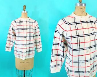 "Vintage 1960s Stripe Cardigan   Red White Blue Mod Windowpane Plaid Sweater   B 42-51"""