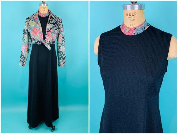 Vintage 1970s Dress Set   Floral Top Black Dress B
