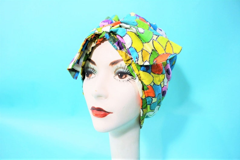 Vintage 1960s Turban  Psychedelic Colorful Hat with Bow image 0