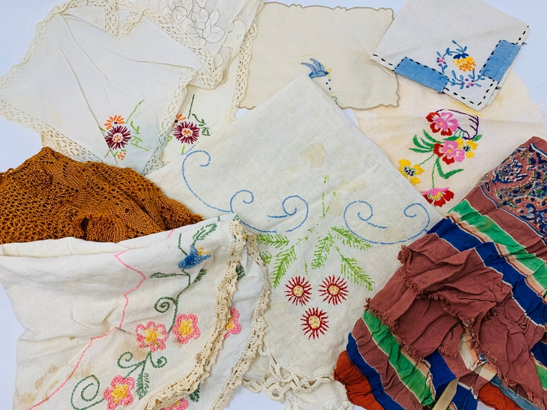 Vintage Textile Assortment  Mixed Fabric Embroidered Lot image 0