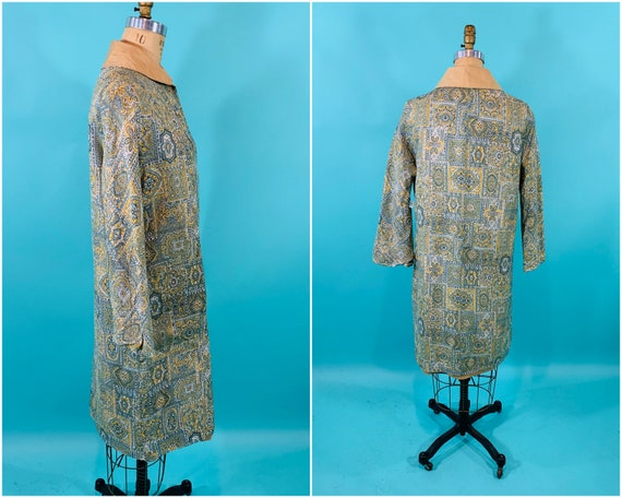 Vintage 1960s Reversible Trench   Paisley Print G… - image 8