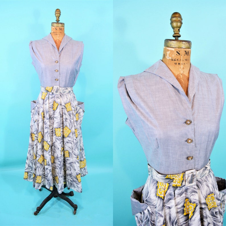 Vintage 1940s Dress  Gray Yellow Novelty Print Pockets image 0