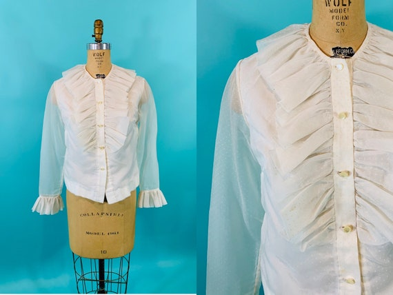 Vintage 1960s Ruffle Blouse   Mod Sheer White Polk