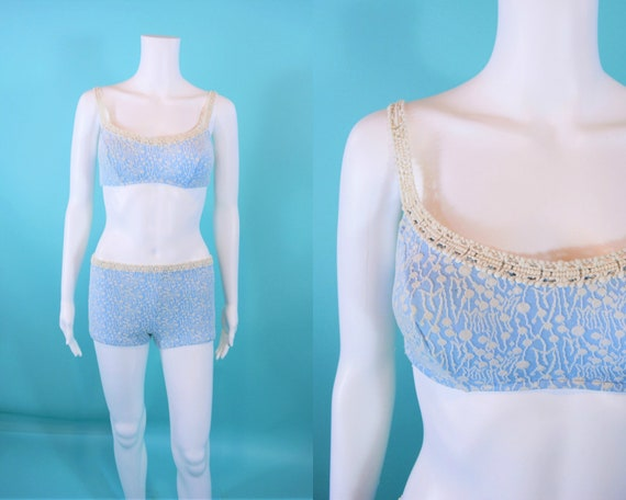 Vintage 1960s Blue BIkini   Jantzen Knit Stretch T
