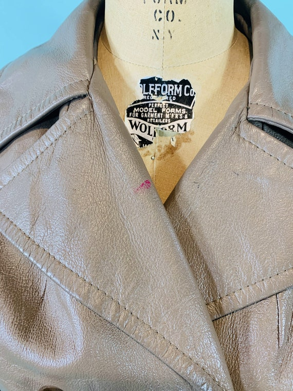 Vintage 1970s Leather Jacket   Taupe Faux Leather… - image 6