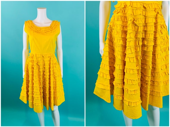 Vintage 1950s Ruffle Dress | Bright Yellow Sun Par