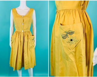 """Vintage 1940s Cotton Jumpsuit   Yellow Embroidered Pocket Cropped One Piece   W 23-25"""""""