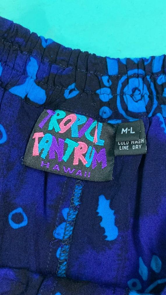 Vintage 1990s Harem Pants | Black Blue Printed Ta… - image 6