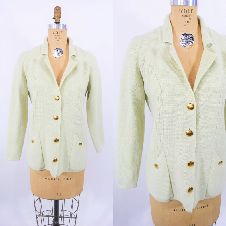 Vintage 1960s Mint Cardigan  Green Gold Button Knit Sweater  image 0