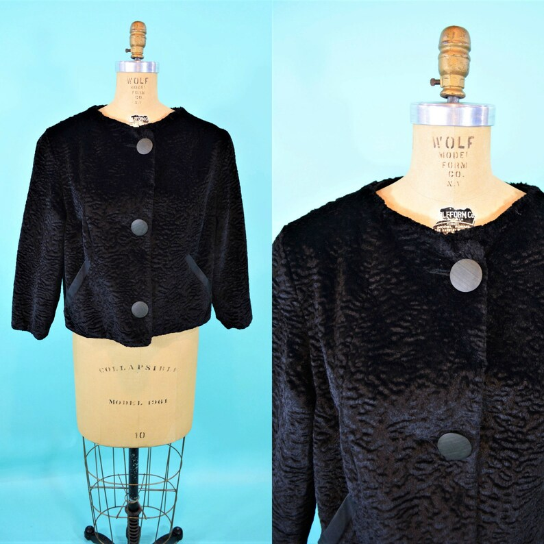Vintage 1950s Black Jacket  Faux Fur Old Hollywood Evening image 0