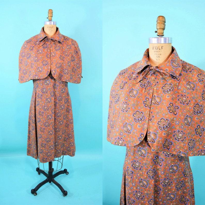 Vintage 1960s Cape Dress Set  Brown Blue Floral Print Dress  image 0