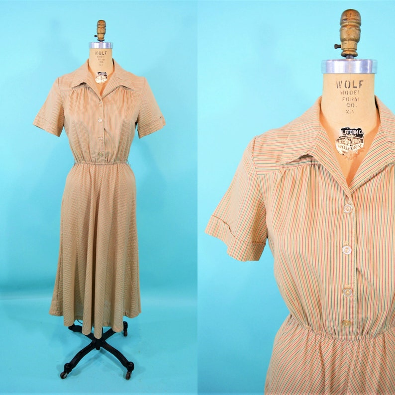 Vintage 1970s Stripe Dress  Beige Striped Shirtdress  W image 0