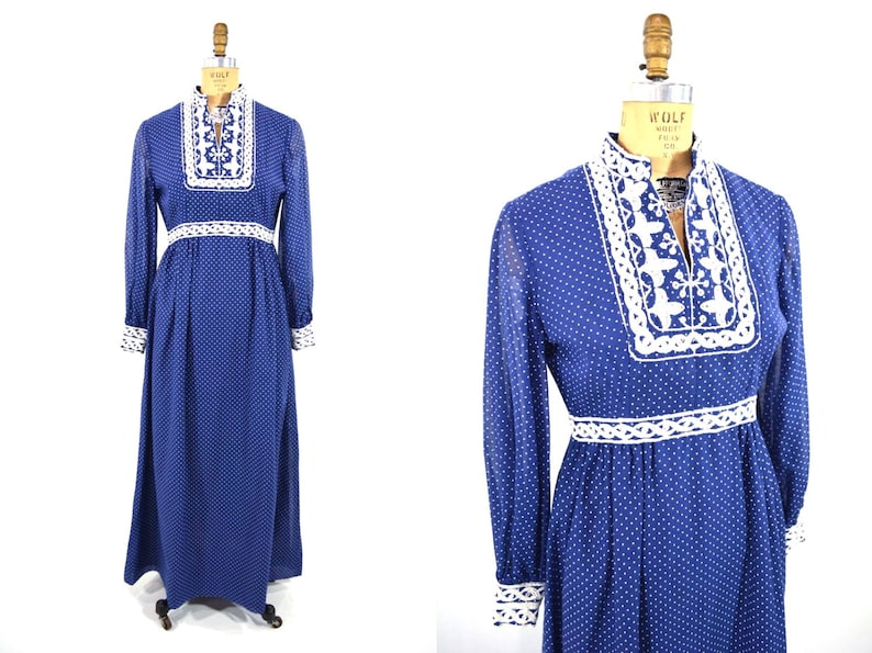Vintage 1970s Maxi  Blue Dotted Swiss Bohemian Dress  W image 0