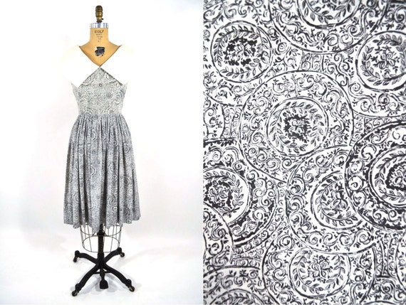 Vintage 1950s Toile Dress | Black White Novelty Pr