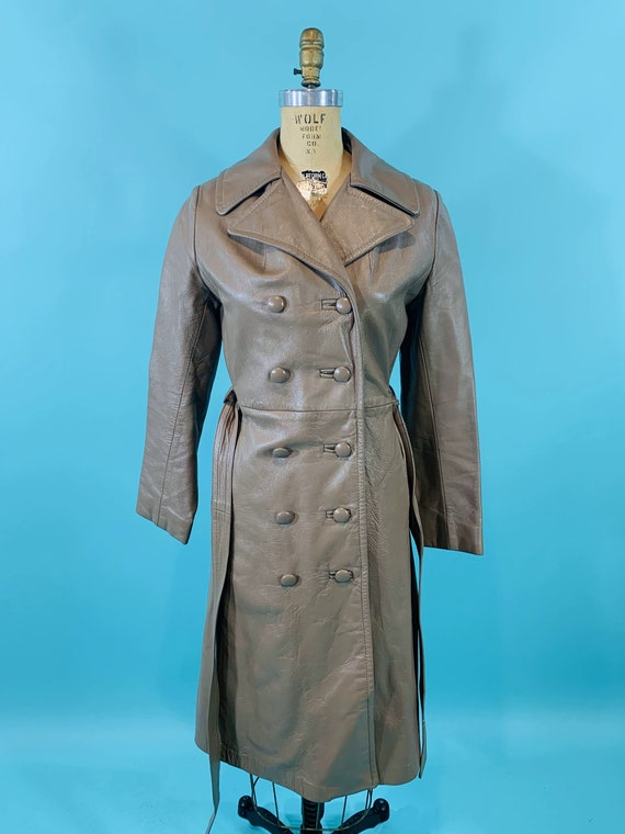 Vintage 1970s Leather Jacket   Taupe Faux Leather… - image 3