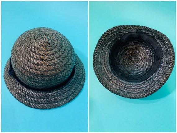Vintage 1950s Wicker Hat | Small Brim Straw Cap - image 8