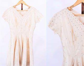 "ANNIVERSARY SALE // 1950s cocktail dress | beige silk silver rhinestone party dress | W 27"""