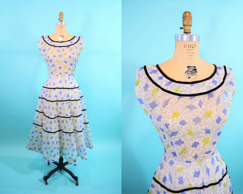 Vintage 1950s Novelty Dress  Card Print Sheer Tiered Cocktail image 0