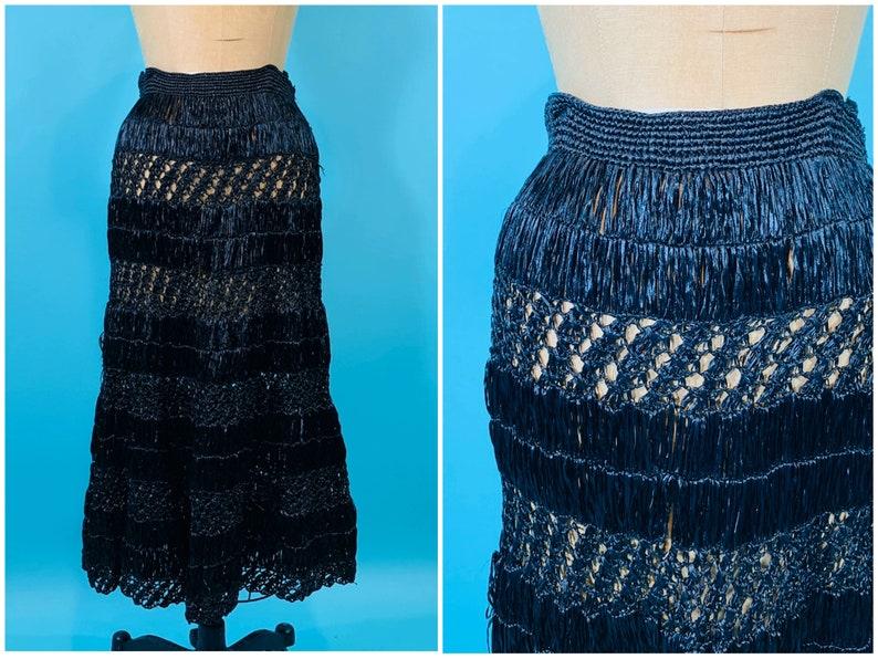 Vintage 1950s Straw Skirt  Pin Up Hula Girl Skirt  W image 0