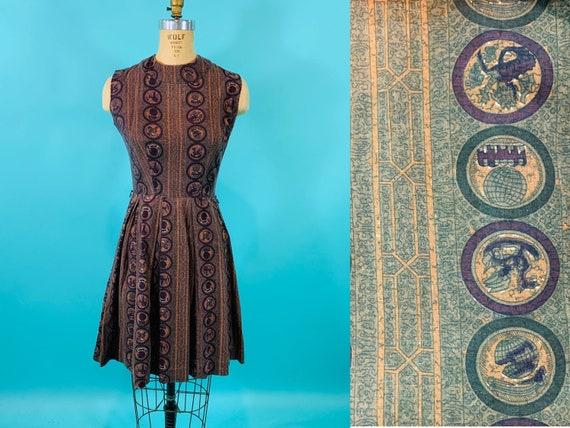 Vintage 1950s Print Dress   Brown Novelty Fit & Fl