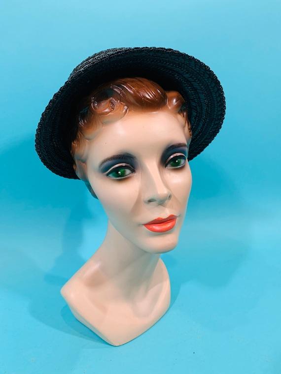 Vintage 1950s Wicker Hat | Small Brim Straw Cap - image 2