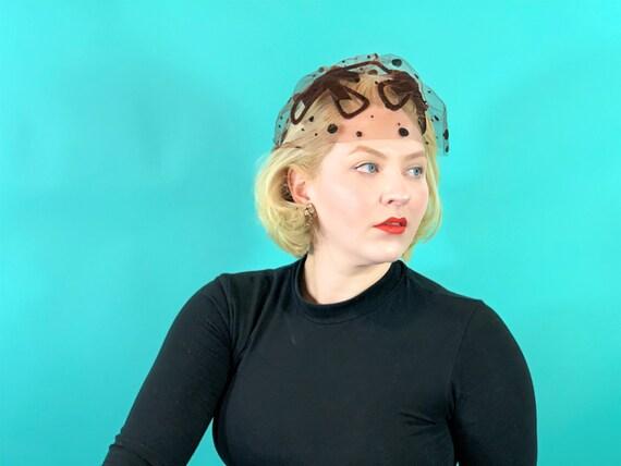 Vintage 1950s Veiled Hat | Birdcage Brown Black Sh