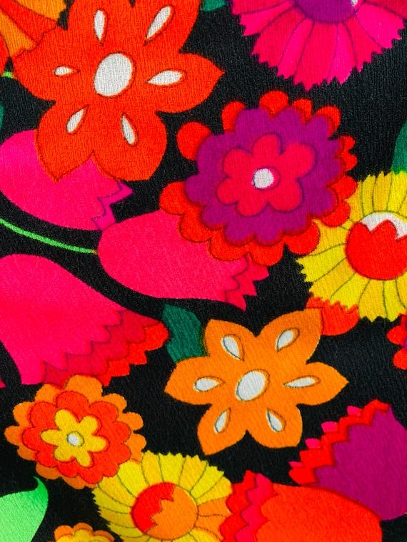 Vintage 1970s Neon Skirt | Handmade Tulip Print T… - image 4