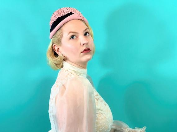 Vintage 1950s Pink Hat | Floral Rhinestone Mohlfe… - image 7