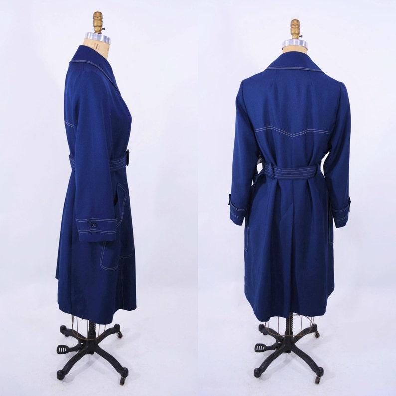 Navy Blue Belted Light Coat Vintage 1960s Trench Coat B 42