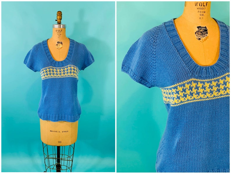 Vintage 1950s Handmade Sweater  Blue Yellow Houndstooth image 0