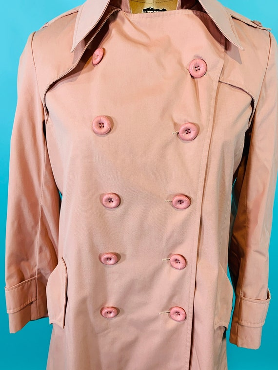 Vintage 1980s Peach Trench | Light Peach Pink Tre… - image 7