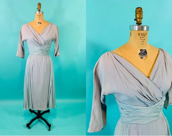 """Vintage 1950s Cocktail Dress   AS IS Sheer Blue Chiffon Surplice Lee Claire Dress   W 26"""""""