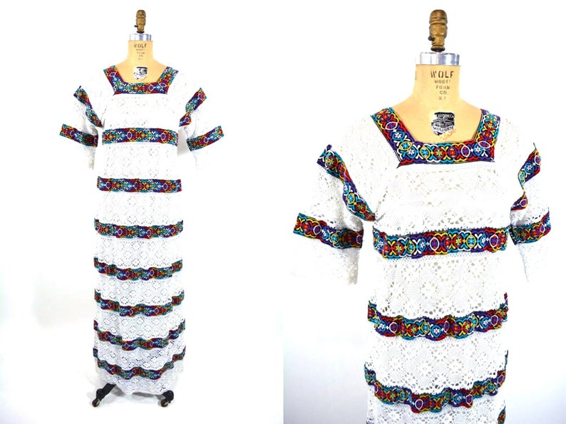 Vintage 1970s Crochet Dress  Hippie Embroidered Tiered Maxi  image 0