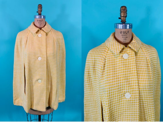 Vintage 1960s Yellow Cape | Houndstooth Button Cap