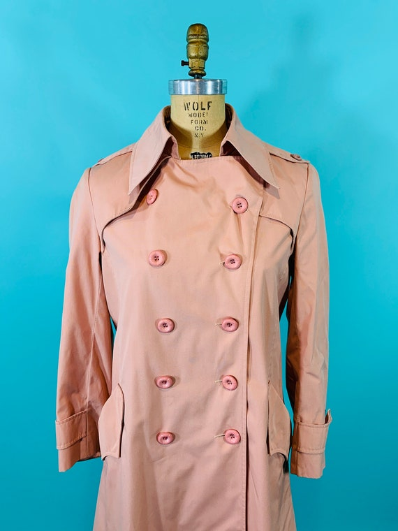 Vintage 1980s Peach Trench | Light Peach Pink Tre… - image 3