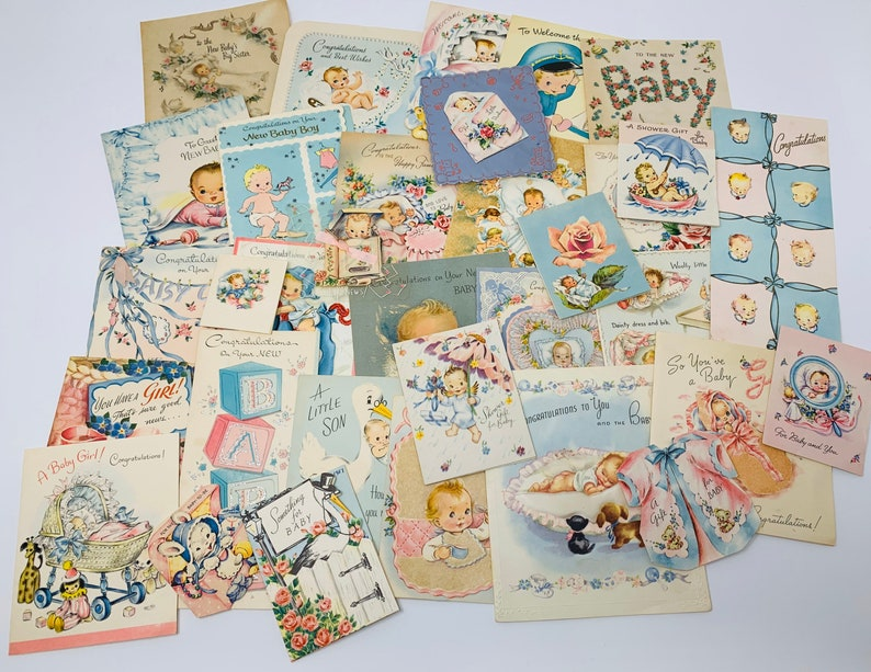 Vintage Greeting Cards  Used New Baby Boy & Girl Lot of Cards image 0