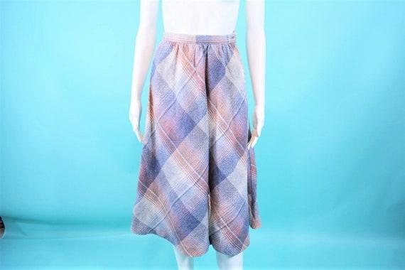 Vintage 1970s Skirt   Plaid Fall Gray Mauve Wool A