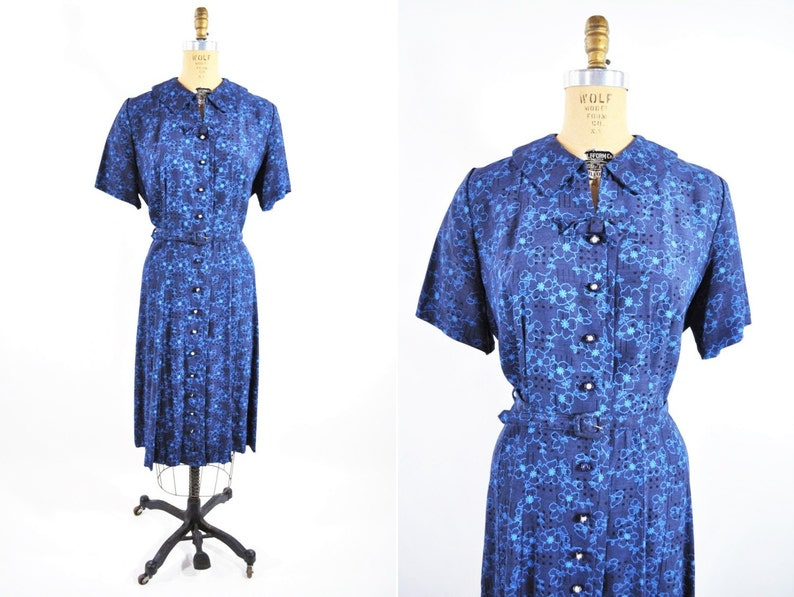 Vintage 1950s Floral Dress  Blue Rhinestone Buttons image 0
