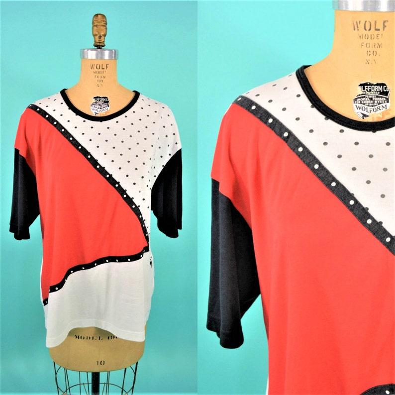 Vintage 1990s Tee  Polka Dot Red Black White Tshirt  B image 0