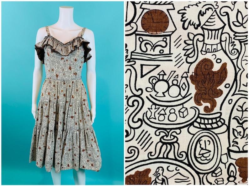 W 25 Black White Print Tiered Ruffle Dress Vintage 1950s Novelty Dress