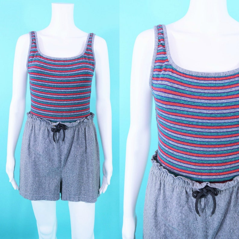 Vintage 1980s Swim Suit  Gray Striped Paperbag Waist One image 0