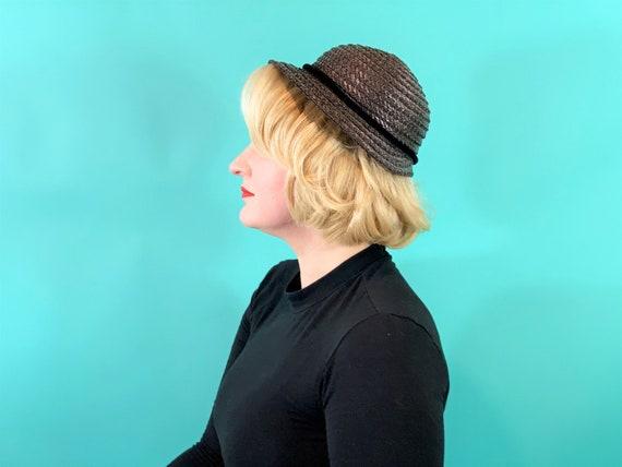 Vintage 1950s Wicker Hat | Small Brim Straw Cap - image 3