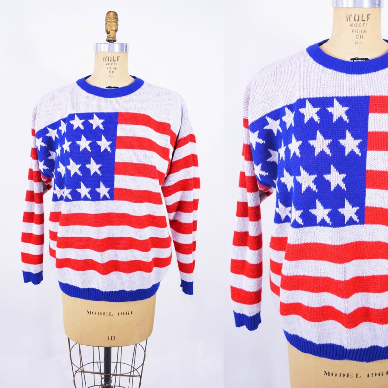 Vintage 70s American Sweater  Red White Blue Flag Novelty image 0