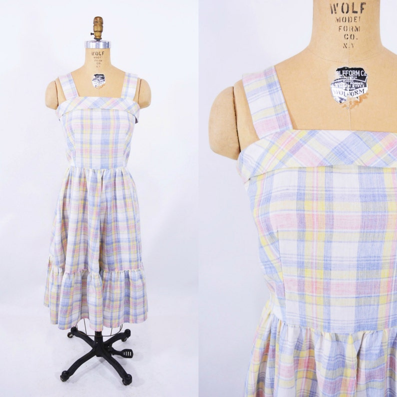 Vintage 1980s Sun Dress  Pale Plaid Prairie Dress  W image 0