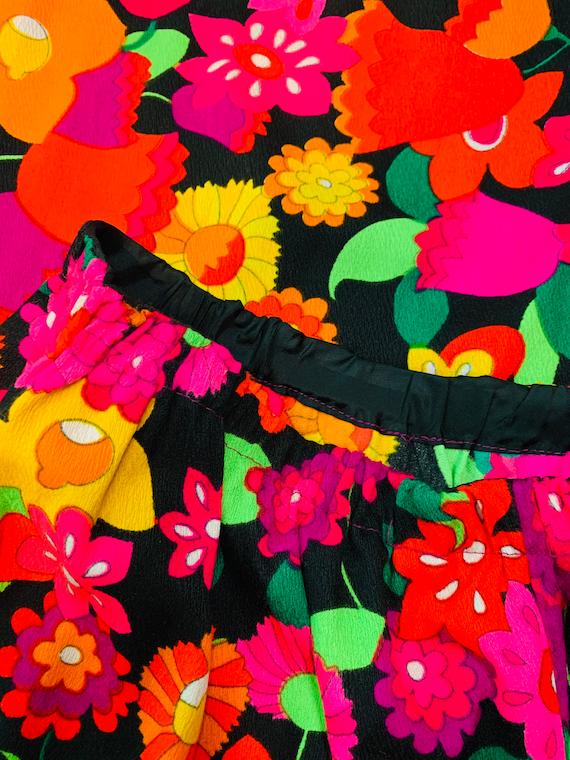 Vintage 1970s Neon Skirt | Handmade Tulip Print T… - image 5