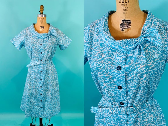 Vintage 1950s Blue Dress   Speckled Round Collar S