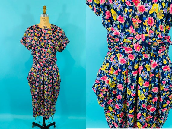Vintage 1980s Floral Dress | 1940s Style Watercolo
