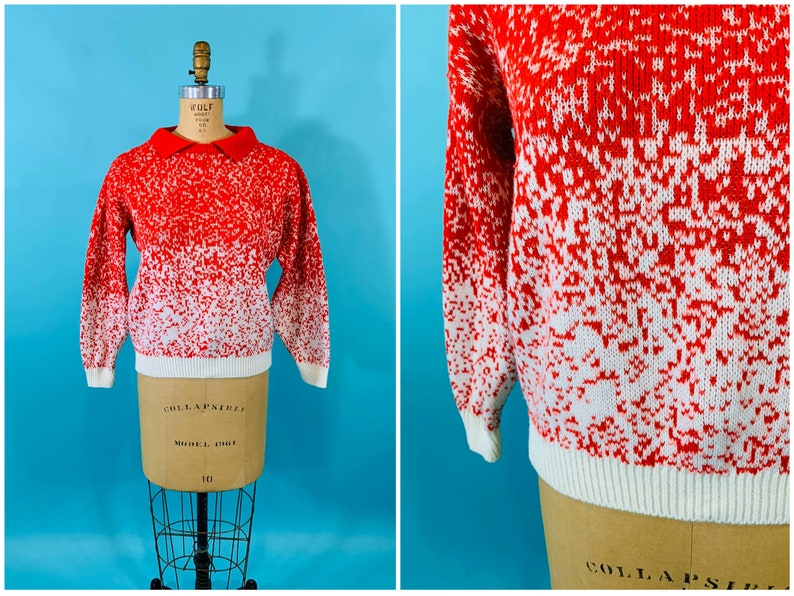 Vintage 1980s Red Sweater  Speckled Collared Pullover  B image 0