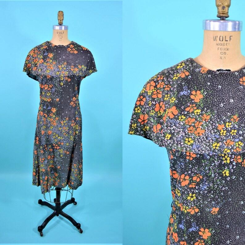 Vintage 1970s Capelet Dress  Floral Print Flutter Boho Cape image 0