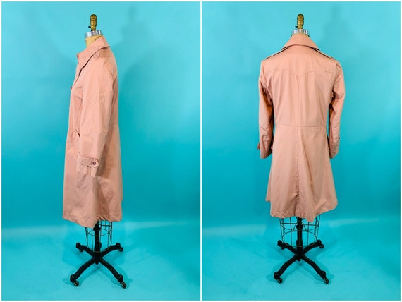 Vintage 1980s Peach Trench | Light Peach Pink Tre… - image 9